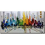 Fasdi-ART Large Modern Contemporary Cityscape Artwork Hand Painted Abstract Pictures Stretched Wood Framed Oil Paintings on Canvas Wall Art Décor for Living Room Decoration 24x48inch