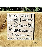 Grandparent Gift, Just When I Thought I was Too Old to Fall in Love Again, Grandparents Gift, Grandparents Sign,Grandparents Tile 7.28 x 7.28 inch 811756