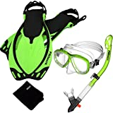 Promate 7590-Green-SM, Snorkeling Mask Dry Snorkel Fins Mesh Gear Bag Set