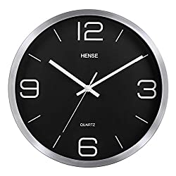 HENSE 12-Inch Large Wall Clock Decorative Living Room Modern For Home Kitchen Living Room Office Quartz Analog Movement Silent Wall Clock with Arabic Numerals Dial Metal Frame and Glass Cover HW56