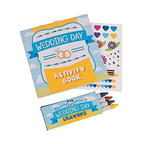 Fun Express Wedding Day Kids Activity Books with Stickers and Crayons, One Dozen -