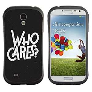 Be-Star Impreso Colorido Diseño Antichoque Caso Del iFace Primera Clase Tpu Carcasa Funda Case Cubierta Par SAMSUNG Galaxy S4 IV / i9500 / i9515 / i9505G / SGH-i337 ( Who Cares Cool Typography )