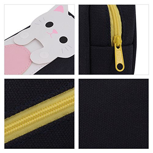 multi-mo Leinwand Creative Cute Cartoon Katze Bleistift Box Federmappe mit Schreibwaren Tasche schwarz schwarz