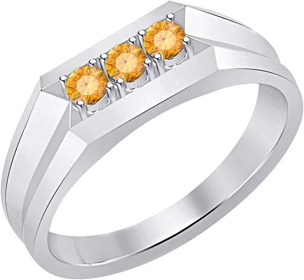 RUDRAFASHION 14k White Gold Plated Round Cut Orange Citrine 925 Sterling Silver Mens Anniversary Band Ring