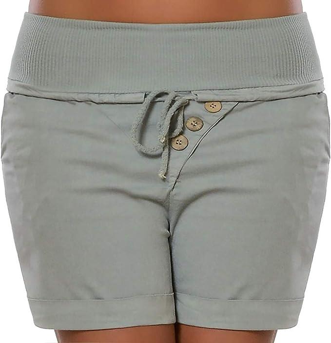 Qingsiy Pantalones Cortos Mujer Básicos Gimnasio Pantalones Cortos ...