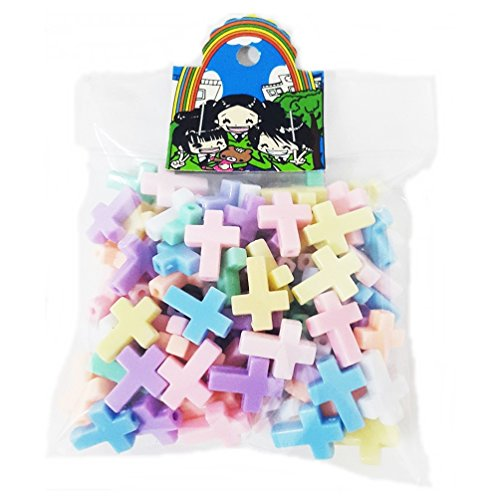 Wholesale Lot Of 110 pcs Cross Beads Pastel Assorted Color Mix Plastic diy Bracelet Kawaii Rainbow Necklace Jewelry Making Craft Kits Kids 12x16mm - Wholesale Lot 12 Pastel