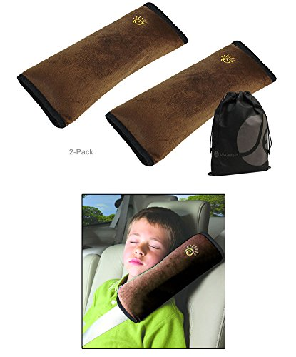 JAVOedge 2 Pack Brown Children's Plush Soft Headrest, Neck Support Pillow, Shoulder Pad Car Safety Seatbelt