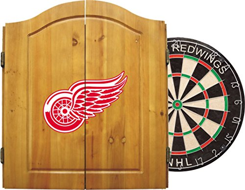 Imperial Officially Licensed NHL Merchandise: Dart Cabinet Set with Steel Tip Bristle Dartboard and Darts, Detroit Red Wings (Man Cave Dart Board)