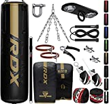 RDX 13PC Punching Bag 5ft 4ft Heavy Filled Set, Non Tear Maya Hide Leather Adult Bag with Ceiling Hook Punch Gloves Chain, Kara Patent Pending, Kickboxing Boxing MMA Muay Thai Karate Training Workout