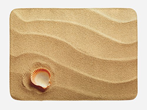Ambesonne Seashells Bath Mat, Little Seashell on Golden Sand Spiritual Sea Animal Coastal Theme Beach Art Print, Plush Bathroom Decor Mat with Non Slip Backing, 29.5 W X 17.5 W Inches, Sand Brown by Ambesonne