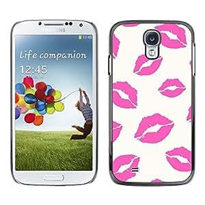 Caucho caso de Shell duro de la cubierta de accesorios de protección BY RAYDREAMMM - Samsung Galaxy S4 I9500 - Lips Kiss Love Sexy White Pattern