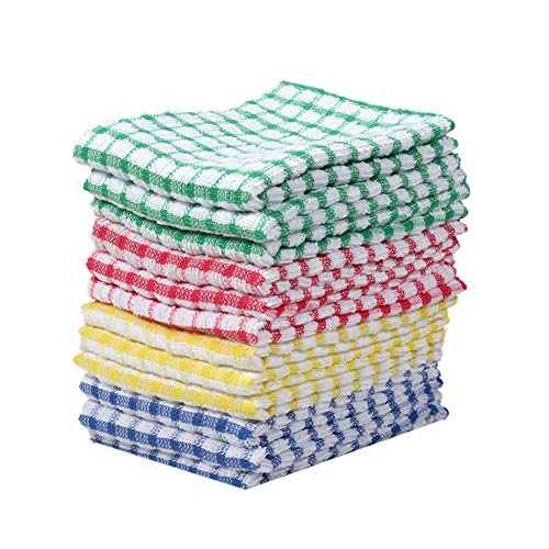 Kitchen Dish Cloth Bulk 100 Cotton Kitchen Wash Cloths Scrubbing Dishcloths Sets 11x17 Inch 12pcs (Mix Color)