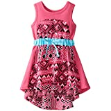 Sweet Heart Rose Little Girls' Knit with Printed Koshibo Panel Dress with Cinched Waist, Pink/Turquoise, 2
