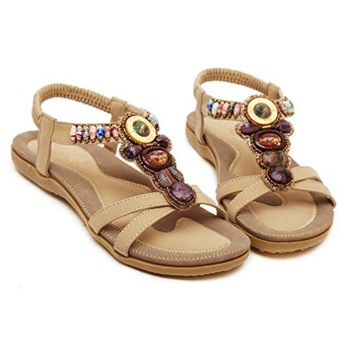 D'été Chaîne Lumino Femme Chaussures Fête PU Plate Sandales Chaussures Mode Femmes apricot Perles Forme x81R8n