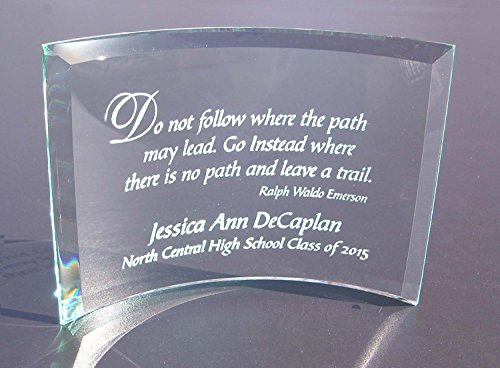 Personalized Graduation Plaque: Do Not Follow Beveled Glass Crescent ()