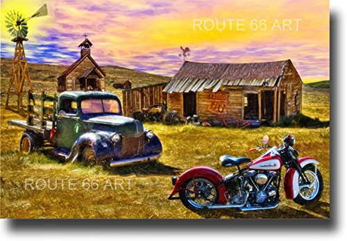 HARLEY DAVIDSON PANHEAD MOTORCYCLE ROUTE 66 ART PRINT for sale  Delivered anywhere in USA