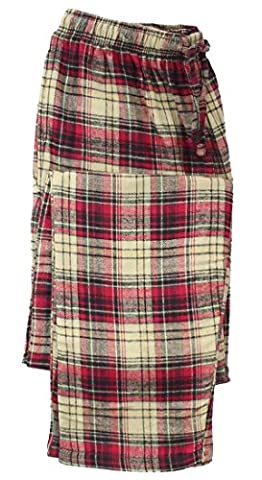 Canyon Guide Outfitters Men's Cotton Flannel Plaid Sleep Lounge Pajama Pants (X-Large, Red/Khaki) - Canyon Guide