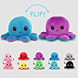 TeeTurtle   Reversible   Cute Mini Plushies   Light and Dark Pink Octopus   Squish Often - Cuddle Daily   Show Your Mood with Emotion
