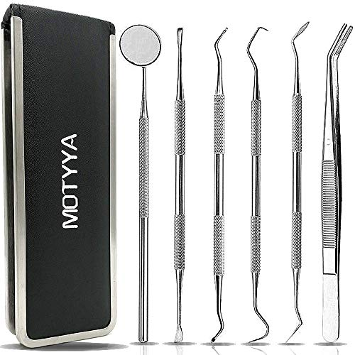 Dental Tools, MOTYYA Teeth Cleaning Tools kit Professional Tooth Hygiene Stainless Steel Dental Picks Oral Care set to Remover Tartar, tooth scraper,Mouth Mirror,Tooth Scaler home use (6 Tools) ()