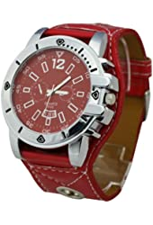 HACBIWA 2013 Classic Men Women Red Letheroid Wrist Watches Big Dial Watches