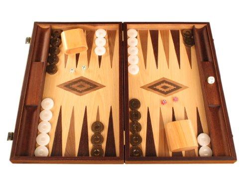 Walnut and Oak Wood Backgammon Set - Board Game - Large, (Checker Set Walnut Game Box)