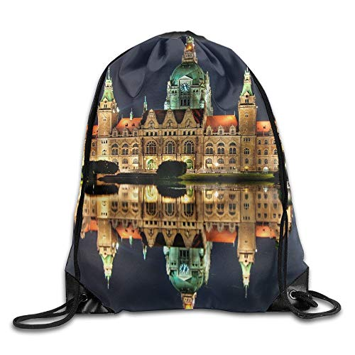 Linkaprk Architecture City Cityscape Germany Water Old Building Night Lights Sky Castle Lake Reflection Mirrored Clock Tower Hanover City Hall Landscape Trees Drawstring Pack Beam Mouth Gym Sack Shoul (Mirrored Tower)
