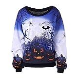 Farjing Women Halloween Print Long Sleeve Sweatshirt Pullover Tops Blouse Shirt(XL,Blue)