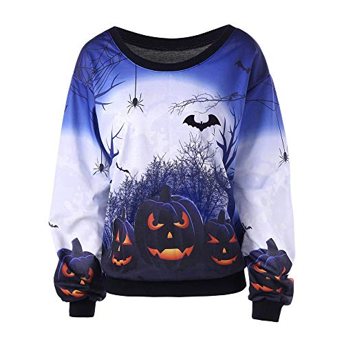 UONQD Women Halloween Print Long Sleeve Sweatshirt Pullover