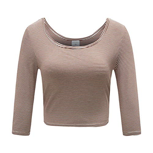 OThread & Co. Women's Cotton Crop Top Striped Scoop Neck 3/4 Sleeve T-Shirt (Large, Coffee&White1) (Scoop Sleeve 3/4 Top Neck)