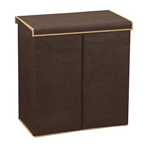 Household Essentials 5614 Double Hamper Laundry Sorter with Magnetic Lid | Brown Coffee Linen