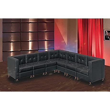 Modern Line Furniture 9049B G7 Modular Leather L Shape Sectional Sofa Set With Restaurant Bar Nightclub Hospitality Furniture Black Pack Of 7