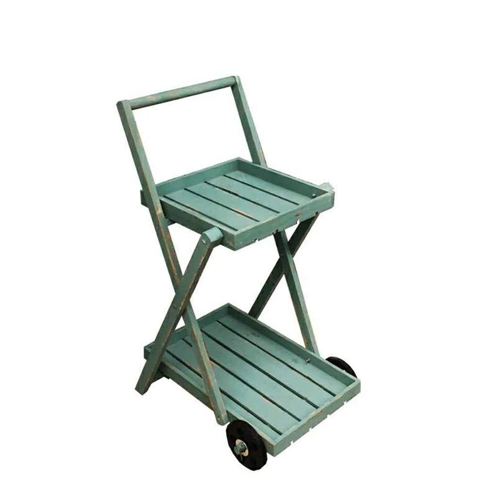 ヴィンテージ木製ダブルデッカートロリーフラワースタンド、古いクラフト多肉植物車輪付き収納ラック、リビングルーム/バルコニー/屋内フロアスタンド植物ディスプレイラック (色 : 緑) B07RN67KMC 緑