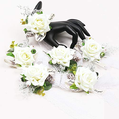 U'Artlines Bridal Wedding Bouquet Romantic Handmade Artificial Peony Roses Pearl for Wedding Party Home Decoration (Corsage 6pcs White)