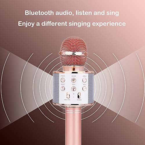Karaoke Microphone for Girl, Toy Gift for 8-12 Year Old Girls Singing Microphone for Kids Boys Music Toy for 5-11 Year Old Kids Girl Party Gift Age 4-12 Girl Rose Gold Mic by Moff (Image #1)