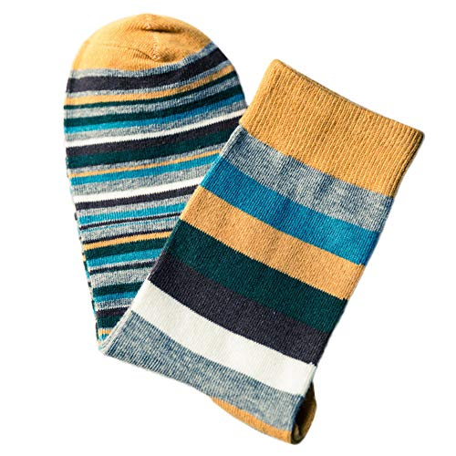 Men's Colorful Autumn Fashion Striped In Tube Casual Cotton Socks By VECDUO