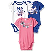 Gerber Childrenswear NFL New York Giants Girls Short Sleeve Bodysuit (3 Pack), 3-6 Months, Pink