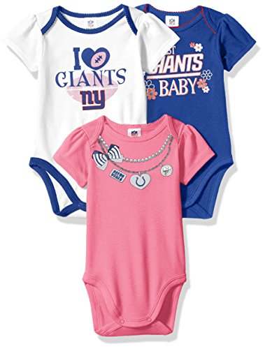 NFL New York Giants Girls Short Sleeve Bodysuit (3 Pack), 0-3 Months, Pink
