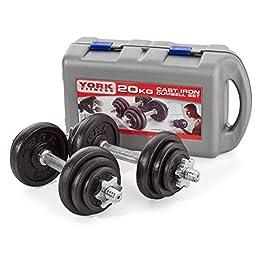 York Fitness Cast Dumbbell Spinlock– Dumbbell Weight Set H...