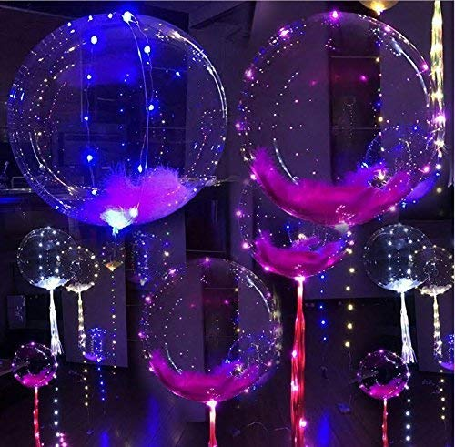 Balloon Light - 18 Inch 5 PCS Led Light Up BoBo Balloon Colorful/ Warm White Lights, Fillable Light up Balloons with Helium, Great for Christmas Party, House Decorations,Amazing Party Decoration (Colorful)