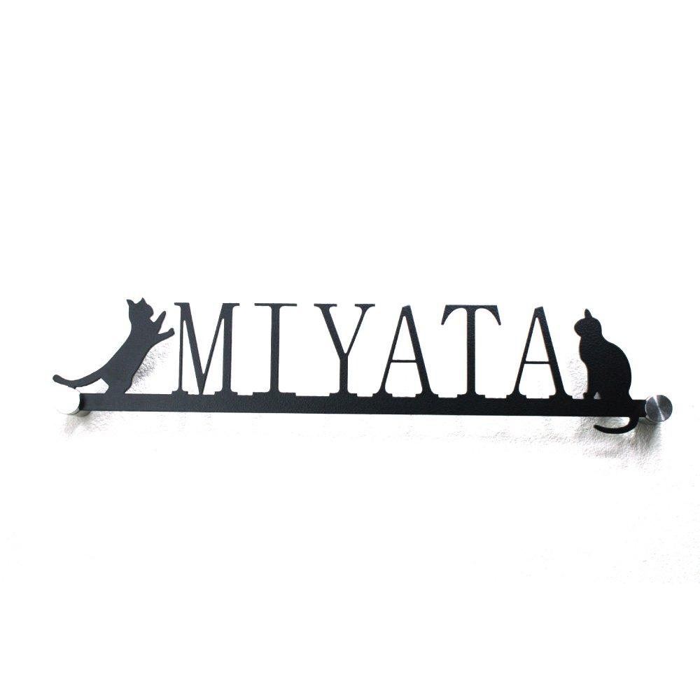 表札「立ちネコ 腰掛けネコ」猫 可愛い 明朝体 アイアン調 B072KN4VSM 14040