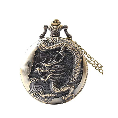 Women Pocket Analogue Quartz Pocket Watch Thin Chain Dragon Pattern Necklace Pendant Pocket Watch Vintage Chain Necklace Pocket Watch Bronze L