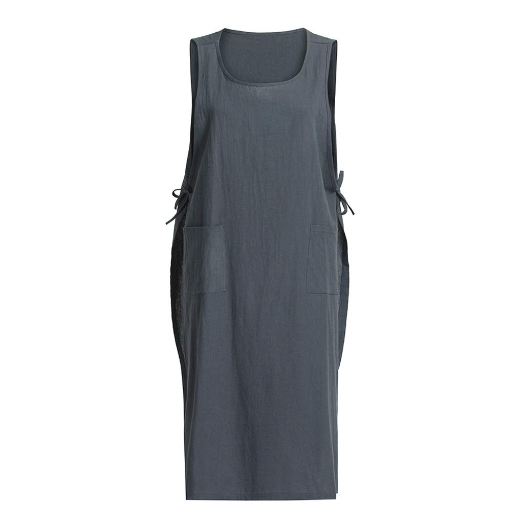 Lmx+3f Valentine's Day Women Cotton Tunic Dress Casual Apron with Pockets Japanese Style Pinafore Dress Soft Comfy Tops Dark Gray