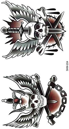 Old School Tattoo SKM204 - Tatuaje falso, diseño de calavera ...