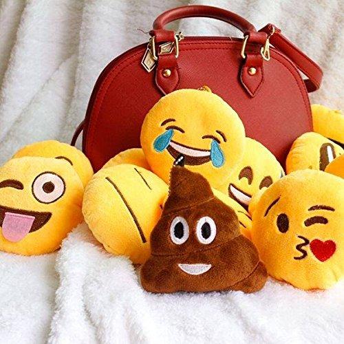 Eros Colgante de suave peluche llavero peluche emoticonos emoji redondo amarillo lindo