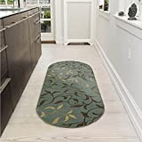 Cheap Ottomanson Ottohome Collection Collection Contemporary Leaves Design Non-Skid Rubber Backing Modern Area Rug, 2′ X 5′ Oval, Seafoam