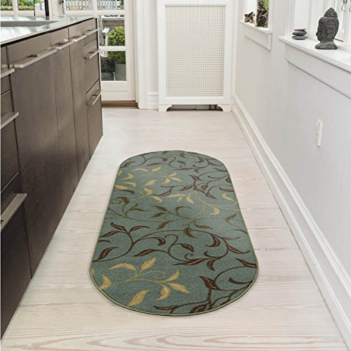Ottomanson Ottohome Collection Collection Contemporary Leaves Design Non-Skid Rubber Backing Modern Area Rug, 2' X 5' Oval, Seafoam Oval Kitchen Rugs