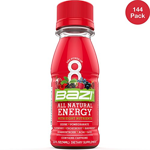 Bazi All Natural Energy Drink 12 Pack - 2.5 oz Liquid Energy Shots Extra Strength - Best Healthy Source of B12 Vitamin Antioxidants and 8 Superfruits (144 Pack) by Bazi