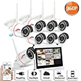 Security Camera System Wireless 8Channel 960P HD Outdoor Indoor Cameras with 12Inch Monitor NVR Plug and Play Remote Access Night Vision No Hard Drive SWINWAY ANRAN