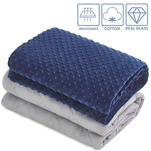 TBI Pro [New 2019] Super Soft Weighted Blanket with Organic Natural Cotton for Adults | Premium Softness, Glass Beads | Rhomb Shape Heavy Blanket | Beautiful Storage Bag (48x72 in (Full) 15 LBS) ()