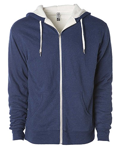 (Global Unisex Heavyweight Sherpa Lined Zip Up Fleece Hoodie Jacket Navy M)